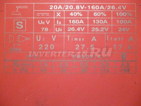 Характеристики AIKEN WELD RANGER 160 MWD160.4.6