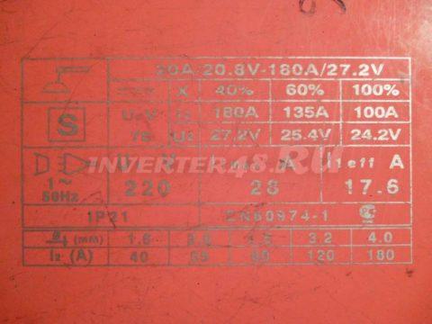 Характеристики инвертора AIKEN WELD RANGER 180 MWD180.5.4