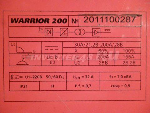 Характеристики инвертора AIKEN WELD WARRIOR 200 MWD200.7.0