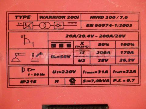 Характеристики инвертора AIKEN WELD WARRIOR 200i MWD200.7.0