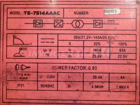 Характеристики инвертора AKAI TE 7514AAAC