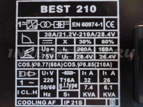 Характеристики сварочного инвертора BESTWELD BEST 210