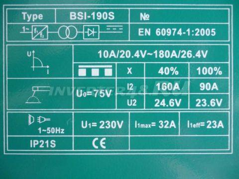Характеристики сварочного инвертора BORT BSI 190 S