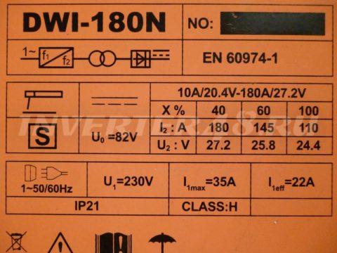 Характеристики сварочного инвертора DEFORT DWI 180 N
