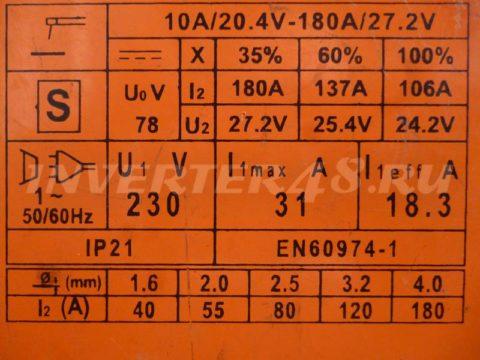 Характеристики инвертора DEFORT DWI 180 S VER3.3