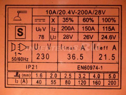 Характеристики инвертора DEFORT DWI 200 N
