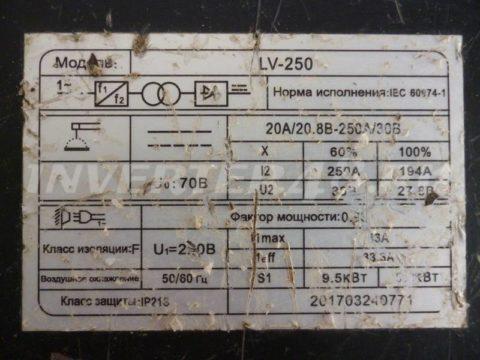 Характеристики сварочного инвертора EDON LV 250