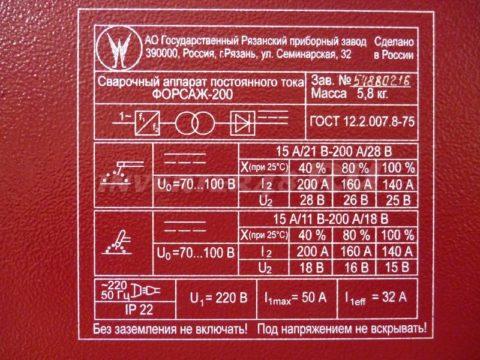 Характеристики инвертора ФОРСАЖ 200