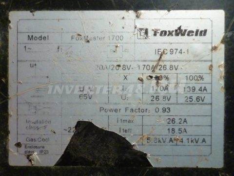 Характеристики инвертора FOXWELD FOXMASTER 1700