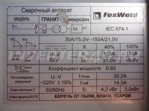 Характеристики сварочного полуавтомата FOXWELD ГРАНИТ УНИВЕРСАЛ