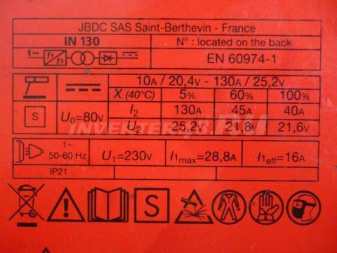 Характеристики инвертора FUBAG IN 130 PCB 64184 IND7
