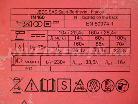 Характеристики инвертора FUBAG IN 160 PCB 64171 IND9