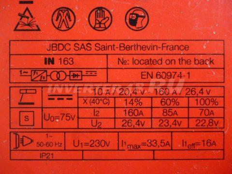Характеристики инвертора FUBAG IN 163 PCB 63961 IND5