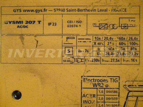 Характеристики сварочного инвертора GYS GYSMI 207 TIG HF AC/DC PULSE