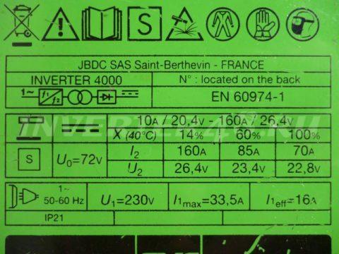 Характеристики сварочного инвертора GYS INVERTER 4000 PCB 64171 IND11