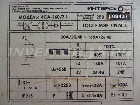 Характеристики сварочного инвертора ИНТЕРСКОЛ ИСА 160 7.1