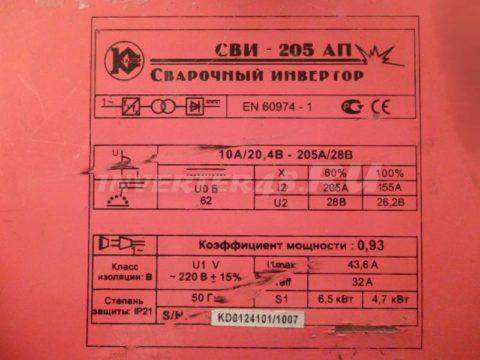 Характеристики инвертора КАЛИБР СВИ 205 АП