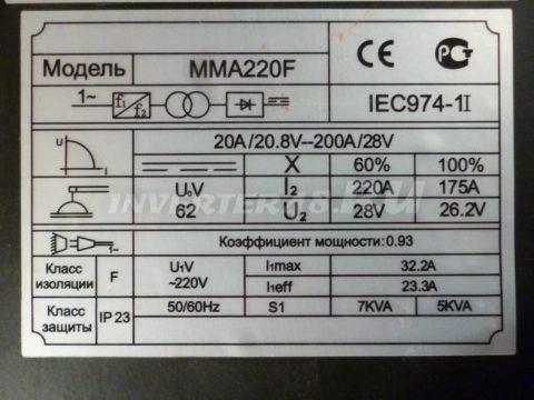 Характеристики сварочного инвертора КЕДР MMA 220 F