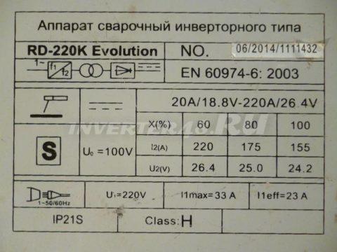 Характеристики инвертора REDVERG RD 220 K EVOLUTION