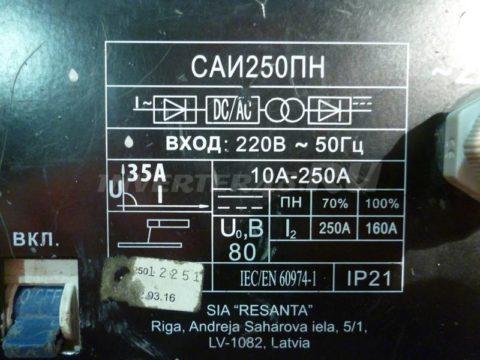 Характеристики РЕСАНТА САИ 250 ПН GP63 V1.0