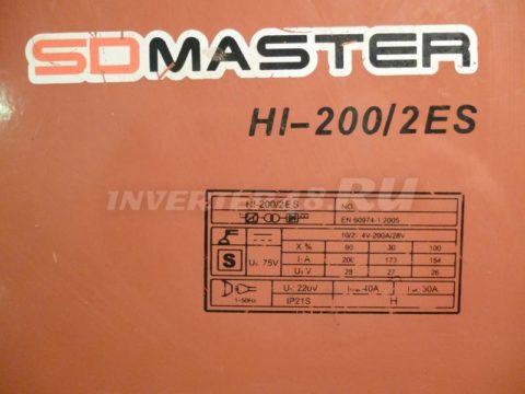 Характеристики инвертора SDMASTER HI 200 2ES