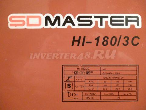 Характеристики инвертора SDMASTER HI 180 3C