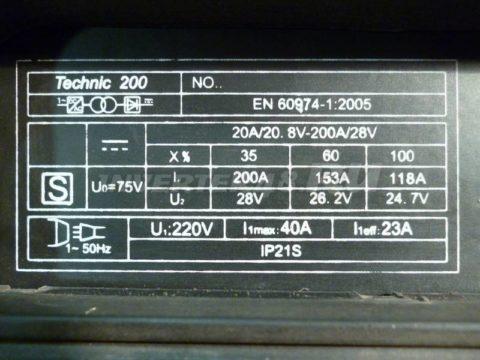 Характеристики инвертора SDMASTER TECHNIC 200