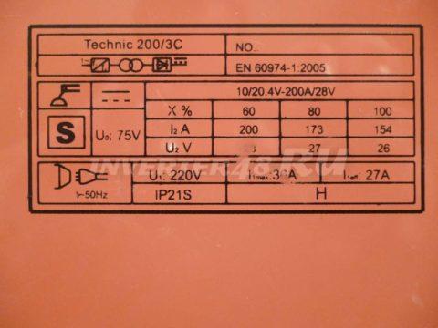 Характеристики инвертора SDMASTER TECHNIC 200 3C