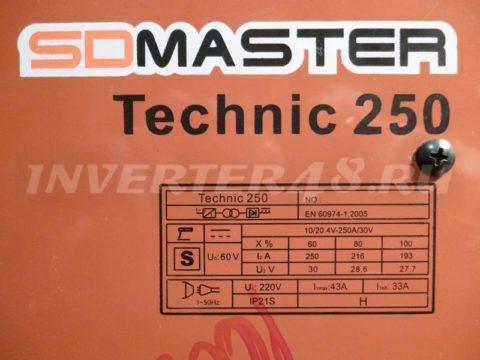 Характеристики сварочного инвертора SDMASTER TECHNIC 250