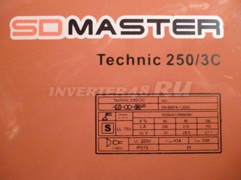 Характеристики SDMASTER TECHNIC 250 3C