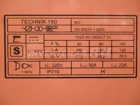 Характеристики инвертора SDMASTER TECHNIK 180