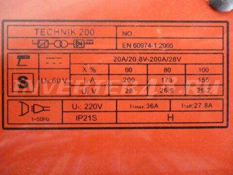 Характеристики сварочного инвертора SDMASTER TECHNIK 200 main S17013