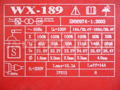 Характеристики инвертора СЯОГАН WX 189