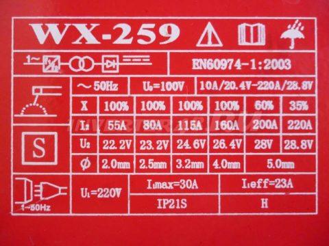 Характеристики инвертора СЯОГАН WX 259