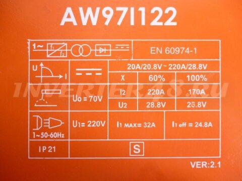 Характеристики сварочного инвертора STURM AW97I122 VER 2.1