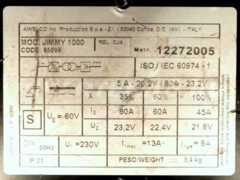Характеристики сварочного инвертора TECNOWELD JIMMY 1000