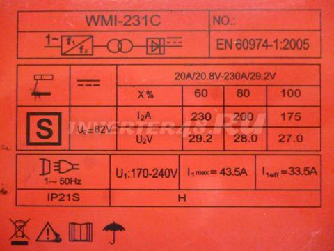 Характеристики инвертора TSUNAMI WMI 231 C