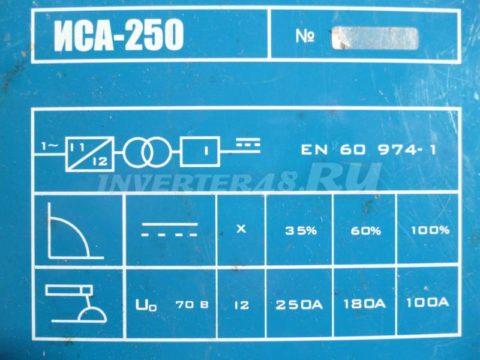 Характеристики инвертора WELDMASTER ИСА 250